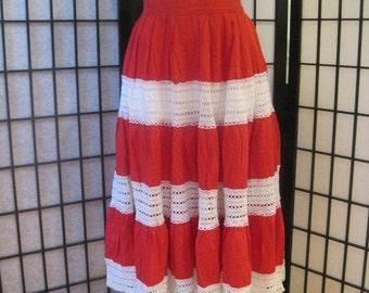 Vintage Hippie Skirt 1960s 1970s Red Ivory Off White Light Beige Cream Crochet Panels Rockabilly Tiered Folk 27 28 26 Inch Waist Full Swing