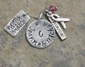 """Hand Stamped Breast Cancer Survior Charm Jewelry """"Family of Strength"""" Necklace Sterling Silver Handmade"""