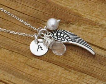 Angel Jewelry Hand Stamped Charm Jewelry Custom Sterling Silver Necklace rememberance