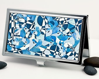 Handmade Business Card Case, Credit Card Case, Card Holder - Mod Abstract Blue Collage Design