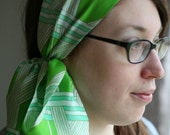 CLEARANCE Organic 'Off Kilter Argyle' SIlk Scarf in Spring Green, Aqua and White