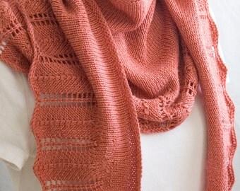 Knitting Pattern Shawl, Ethel Shawl, Coral Wool