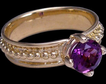 One of a kind, genuine AA amethyst and 18 karat yellow gold, hand made 'empress' ring by Rubyblue Jewelry