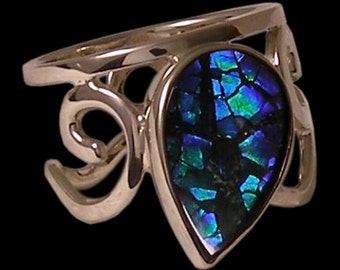 one of a kind, genuine ammolite, 14 karat white gold, hand made 'moondrop' ring