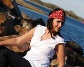 Soft Stretch Wide Red Bandana Headband