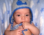 Blue Whale Hat - Baby Whale Hat - Baby Earflap Hat - Baby Boy Winter Hat - Nautical Hat - Crochet Hat - Newborn to Adult, Crochet