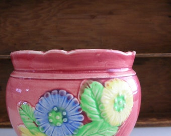 Pink Floral Planter-Hotta Yu Shoten Japan 1920s ceramic planter small planter from The Back Part of the Basement
