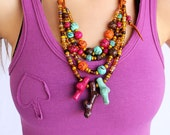 "Colorful Clay Beads Necklace / ""Flying Colors"" / Neon Coral Statement Necklace"