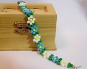Blue & White Flower Hand Woven Daisy Chain Bracelet