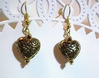 Gold Puff Heart Earrings