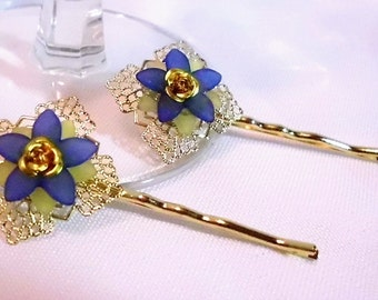Gold and Blue Flower Bobby Pin Set