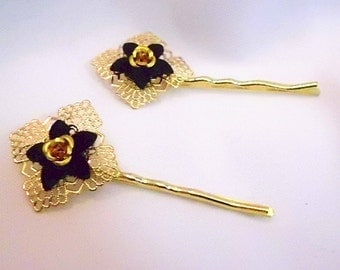Gold and Black Flower Bobby Pin Set