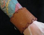 Neon Knights- Leather Stitched Button Wrap Wrist Band Cuff
