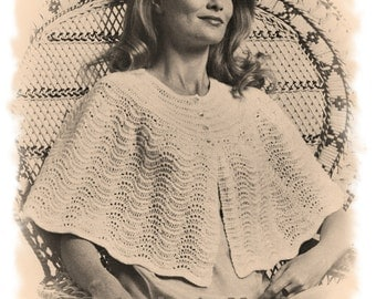 Instant Download PDF Vintage KNITTING PATTERN to make a Pretty Shoulder Cape ...