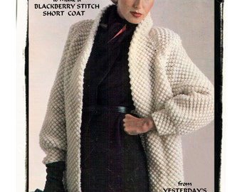 Instant Download PDF KNITTING PATTERN to make a Womens Loose Fit Bramble Stitch Aran Style Short Coat or Jacket 2 Sizes up to 40 inch Bust