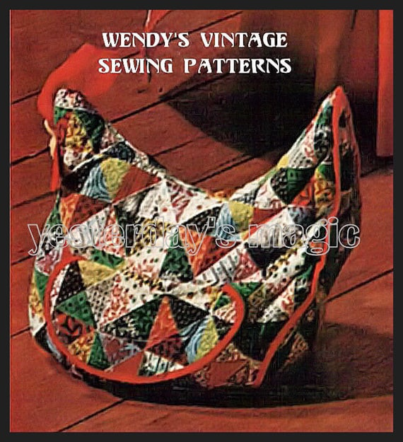 Instant Download PDF Vintage Sixties Easy SEWING PATTERN to make a Quilted Hen Door Stop Bean Bag Chicken Cushion Mod & Retro Kitsch