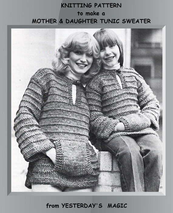 Instant Download PDF Easy Beginners KNITTING PATTERN to make a Womens & Girls Chunky Over Sweater in 8 sizes 24 to 38 inch Chest  Bust