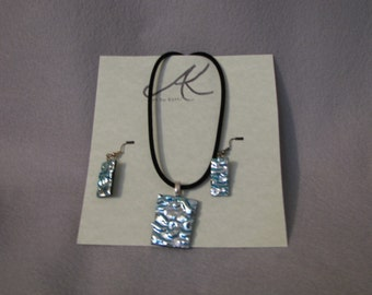 Fused dicro glass necklace, earring set