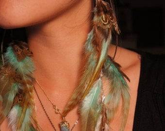 Feather Earrings Long and Asymmetrical