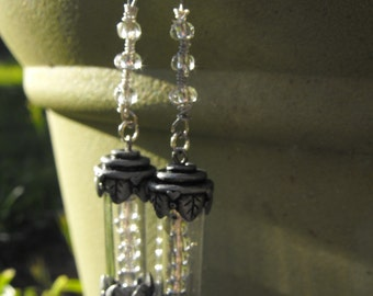 Antique Silver Capsule Earrings with Silver Glass Inner Beads