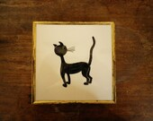 Cat Hot Plate Vintage Collectible Hand Painted Art Tile