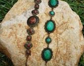 Resine Bracelet Vintage Colored Metal Ethnic Set 2 Pcs