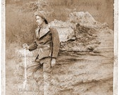 Mountain Western Man Rifle Gun Knife Ruggedly Handsome - Digital Photo Image - Vintage Antique Sepia