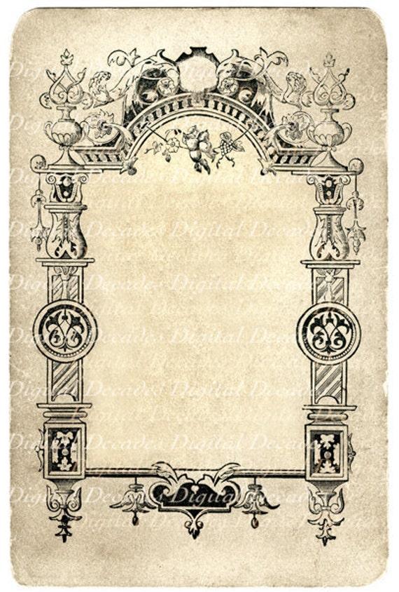 antique victorian photo card back border background texture
