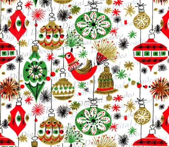 Funky Mid-Century Christmas Ornaments Background Digital