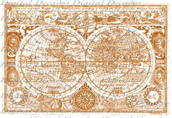 Old World Map - Digital Image - Vintage Art Illustration