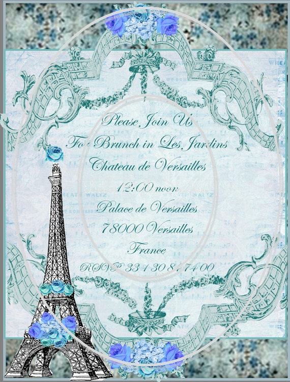 MARIE ANTOINETTE and The Eiffel Tower - Customized PRINTABLE Birthday Invitation - Bella Bella Studios