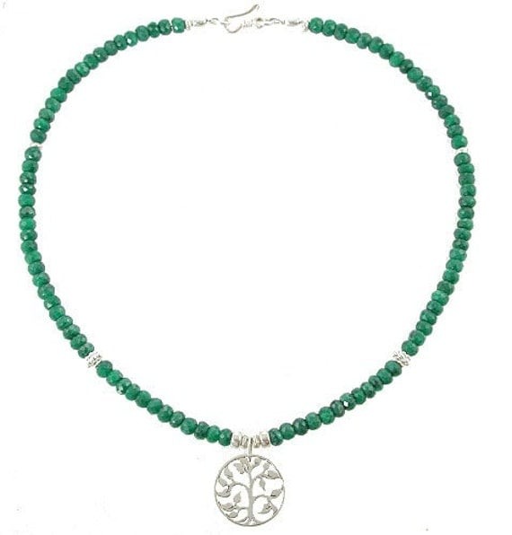 """Tree of Life Pendant in Sterling Silver on an Emerald Gemstone Choker Necklace, 16"""" Length, 7824"""