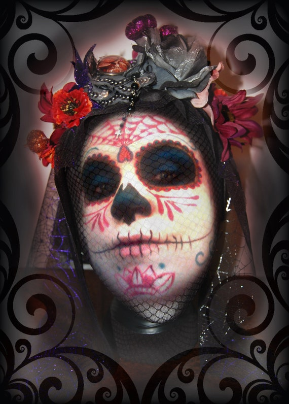 MISS MUERTOS black & purple spiderweb mantilla day of the dead veil