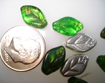 Czech Glass Medium Clear Green Leaves with side hole and one silver side 12x7mm