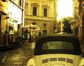 "Vintage Rome in Yellow, Old Volkswagen Beetle, Italy Travel Photography - Fine Art 8x10"" Matte Photography Print"