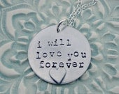 Personalized Necklace - Hand Stamped Necklace - Love Forever Necklace - Sterling Silver Necklace