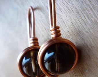 Minimalist Style Smoky Quartz Earrings - Smoky Quartz Copper Wire Wrapped Earrings