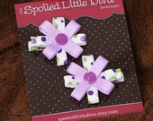 Purple and Green Polka Dot Flower Hair Bows Set of 2 Small Clips
