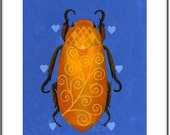 A unique valentine - The Love Bug Scarab Beetle on Blue - hearts heart