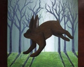 Lepus Capensis - 12 x 12 - brown hare - easter bunny woods forest rabbit leaping fantasy hopping surreal