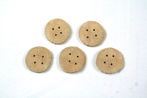 "Small wood buttons - oak wood - set of 5 - with 4 holes - 1"" 2.5cm"