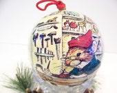 SALE - Vintage Christmas Ornament - Mouse Elf Santas Toy Workshop - Christmas Tree Memory Ball Decopauge Ornament Decoration - Hostess Gift