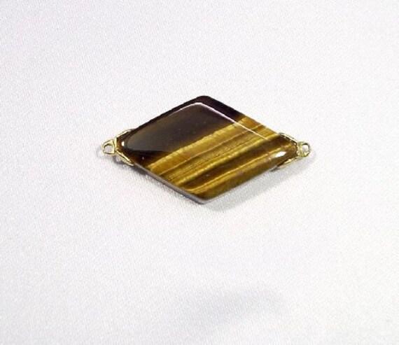 Vintage Tiger Eye Gemstone Diamond Link / Jewelry Salvage - 28x16x5mm