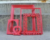 Red Ornate Picture Frame Set