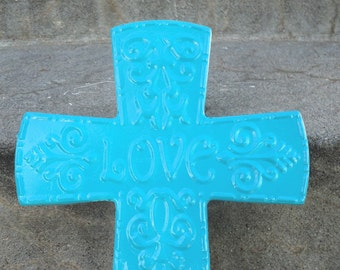 LOVE Metal Cross Wall Hanging Ornate Baptism Wedding Turquoise Scrolly Nursery Bedroom