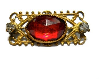 Victorian Brooch Red Stone and White Rhinestone 1900s Collar Pin