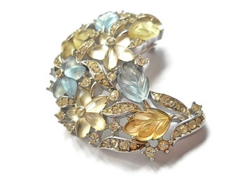 Vintage Brooch Crown Trifari Fruit Salads Crescent Swirl Alfred Philippe 1950s