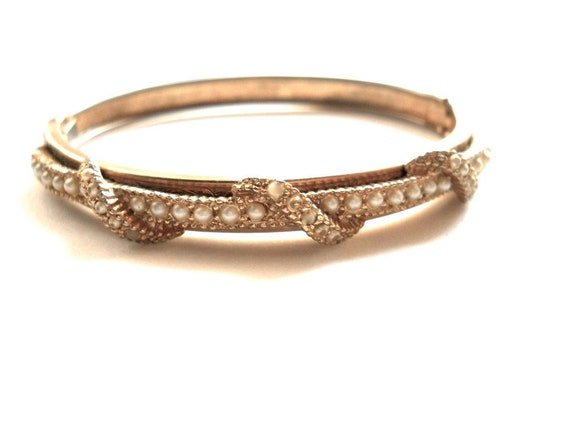 Victorian Bangle Bracelet Taille d  Epargne Tiny Pearls 1900s