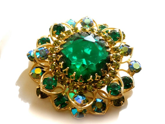 Vintage Rhinestone Brooch Emerald Green and Blue Peacock AB Pin or Brooch