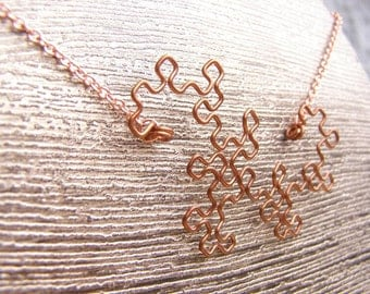 Dragon Curve Fractal Necklace - Raw Copper Wire